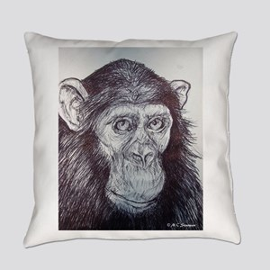 Chimpanzee! wildlife art! Everyday Pillow
