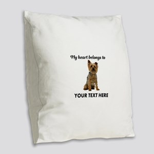 Silky Terrier Burlap Throw Pillow