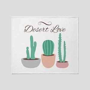 Potted Cactus Desert Plants Love Throw Blanket