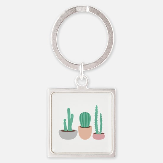 Potted Cactus Desert Plants Keychains