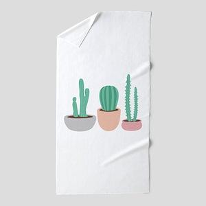 Potted Cactus Desert Plants Beach Towel