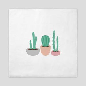 Potted Cactus Desert Plants Queen Duvet