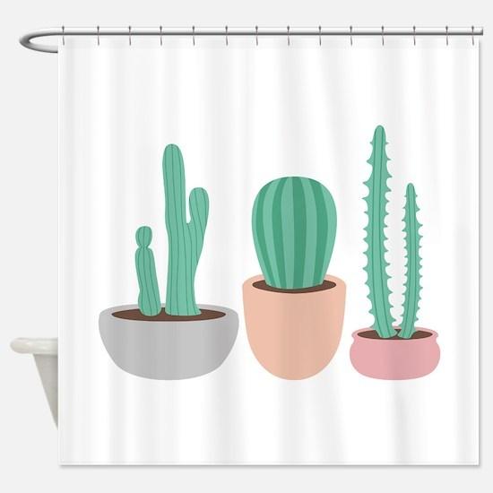 Potted Cactus Desert Plants Shower Curtain