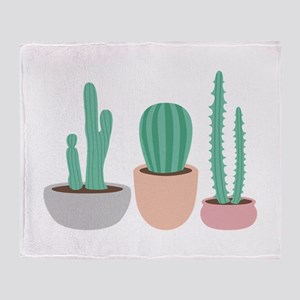 Potted Cactus Desert Plants Throw Blanket