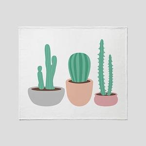 Potted Cactus Desert Plants Throw Blanket