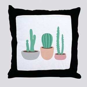 Potted Cactus Desert Plants Throw Pillow