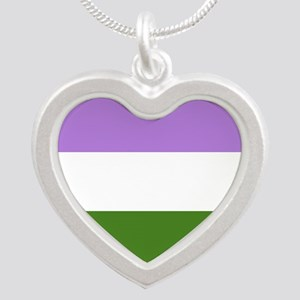 Genderqueer Pride Flag Silver Heart Necklace