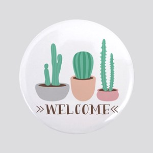 Potted Cactus Desert Plants Welcome Button