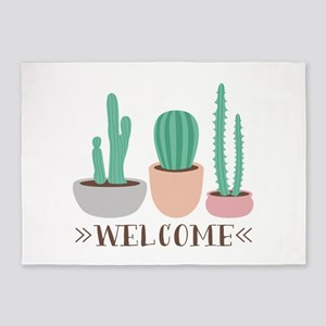 Potted Cactus Desert Plants Welcome 5'x7'Area Rug