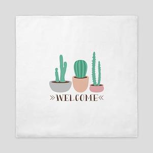 Potted Cactus Desert Plants Welcome Queen Duvet