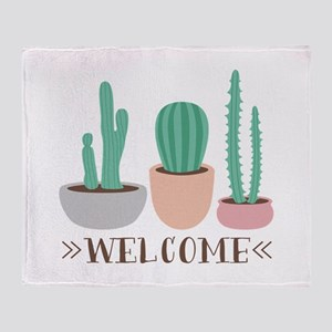 Potted Cactus Desert Plants Welcome Throw Blanket