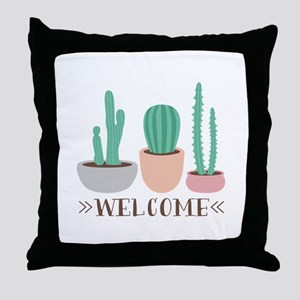Potted Cactus Desert Plants Welcome Throw Pillow