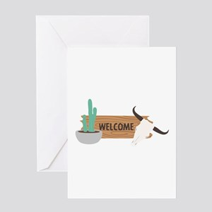 Southwest Wooden Sign Cow Skull Cactus Welcome Gre