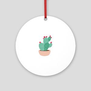 Prickly Pear Cactus Plant Ornament (Round)