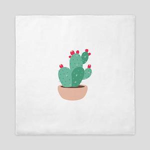 Prickly Pear Cactus Plant Queen Duvet