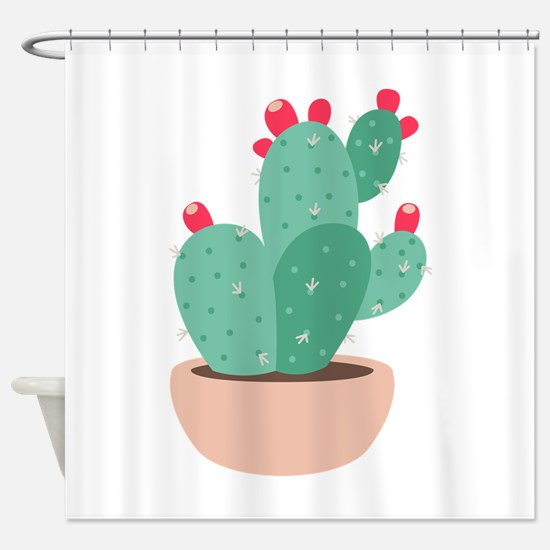 Prickly Pear Cactus Plant Shower Curtain