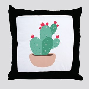 Prickly Pear Cactus Plant Throw Pillow
