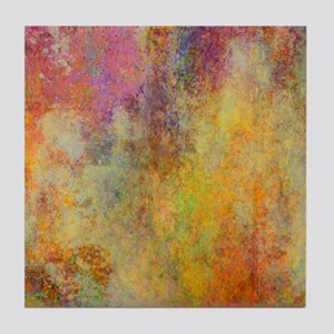 Pink, Purple and Gold Abstract Design Tile Coaster