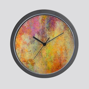 Pink, Purple and Gold Abstract Design, Wall Clock