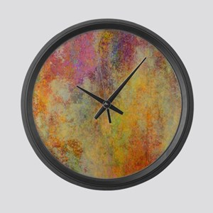 Pink, Purple and Gold Abstract De Large Wall Clock