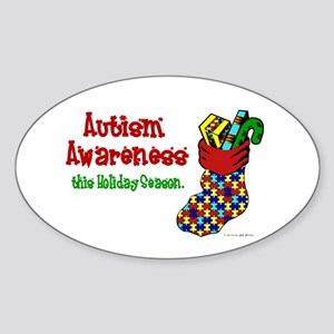 Autism Christmas Stocking 4 Oval Sticker