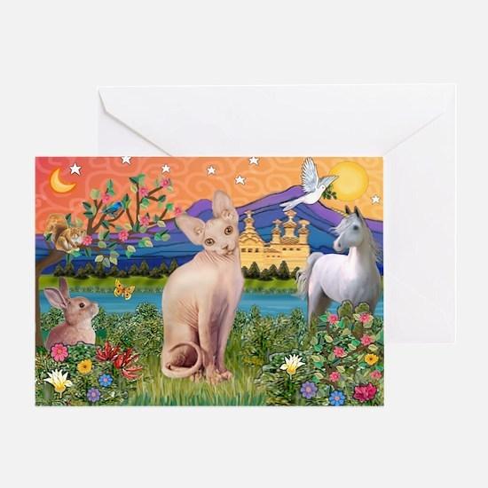 Fantasy Land Sphynx Cat Greeting Card