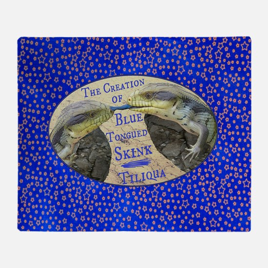 The Creation of Blue Tongued Skink Throw Blanket