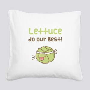 Kawaii Lettuce Do Our Best Vegetable Pun Square Ca