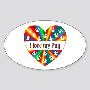 Pug Love Sticker (Oval)