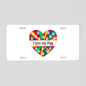 Pug Love Aluminum License Plate
