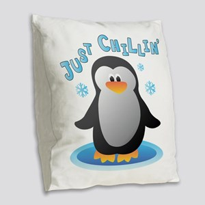 Just Chilin Burlap Throw Pillow