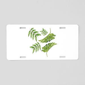 Tropical Leaves Aluminum License Plate