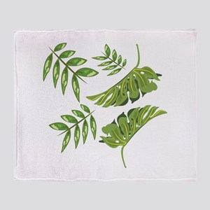 Tropical Leaves Throw Blanket