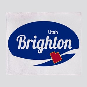 Brighton Ski Resort Utah oval Throw Blanket