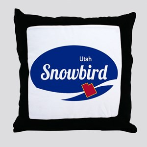 Snowbird Ski Resort Utah oval Throw Pillow