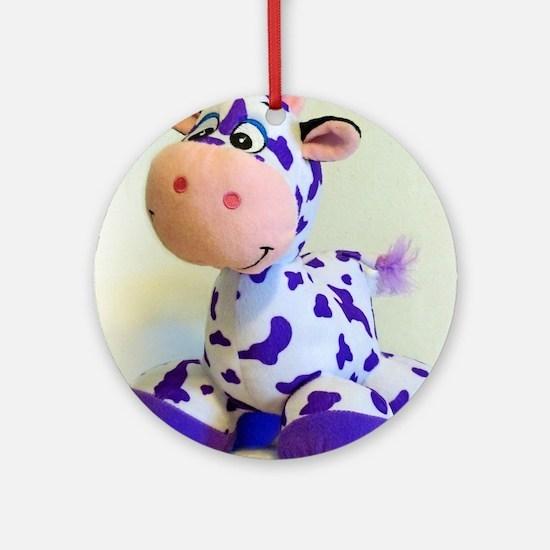 Purple Cow Ornament (Round)