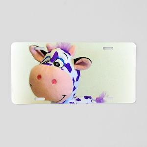 Purple Cow Aluminum License Plate