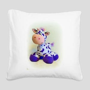 Purple Cow Square Canvas Pillow