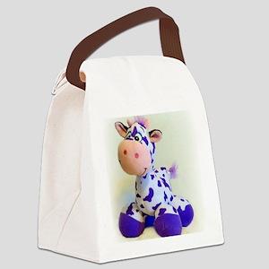 Purple Cow Canvas Lunch Bag
