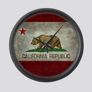 State flag of California - Vintag Large Wall Clock