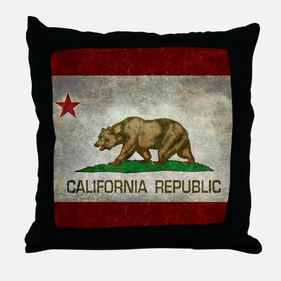 State flag of California - Vintage re Throw Pillow