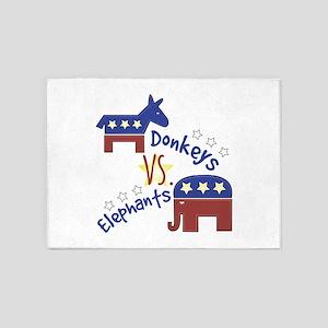 Donkeys Vs Elephants 5'x7'Area Rug