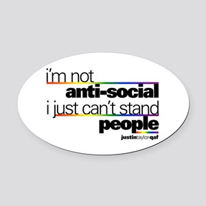 I'm Not Anti-Social Oval Car Magnet