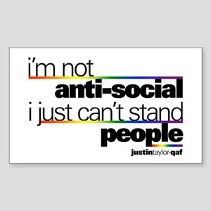 I'm Not Anti-Social Rectangle Sticker