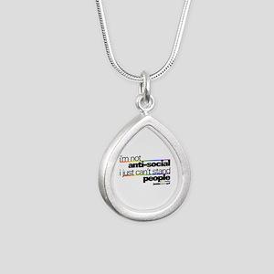 I'm Not Anti-Social Silver Teardrop Necklace