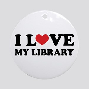 I Love My Library Ornament (Round)