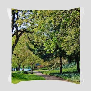 """Lane at Waverly Pond"" Woven Throw Pillow"