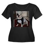 French Bulldog Women's Plus Size Scoop Neck Dark T