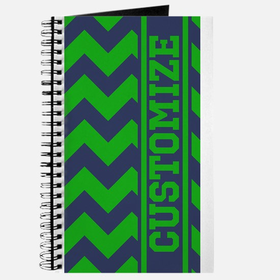 Personalized Green Blue Chevron Pattern Journal