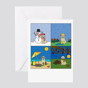 Yellow Lab Four Seasons Greeting Card